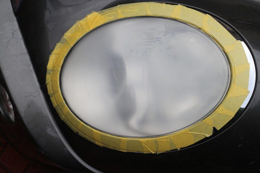 MINI R50 COOPERのヘッドライト黄ばみとり研磨&トップコートコーティング
